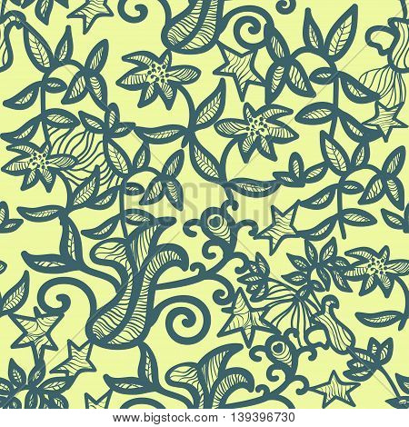 Openwork Seamless Pattern On A Yellow Background. Vector Illustration