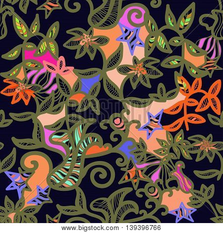 Seamless Pattern An Openwork Golden Color. Vector Illustration