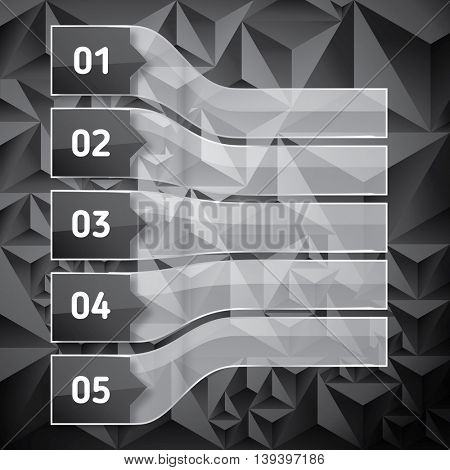 Perspective Set of Numbered headers with transparent glass rectangles. Low poly dark background with copy space for your text and headers. Vector illustration.