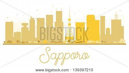 Sapporo City skyline golden silhouette. Vector illustration.