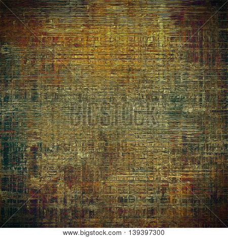 Grunge retro texture, aged background with vintage style elements and different color patterns: yellow (beige); brown; gray; black; green; red (orange)