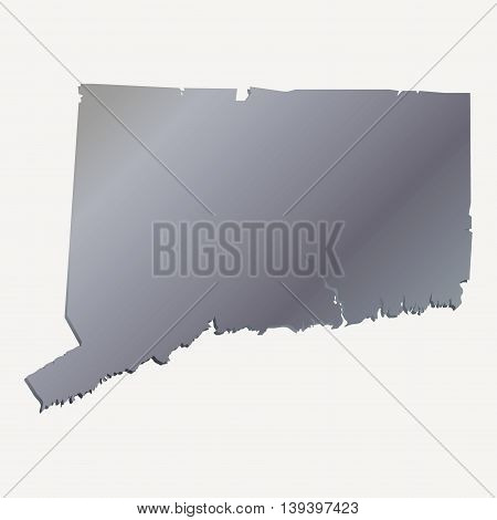 3D Connecticut (USA) Aluminium outline map with shadow