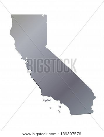 3D California (USA) Aluminium outline map with shadow
