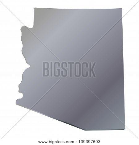 3D Arizona (USA) Aluminium outline map with shadow