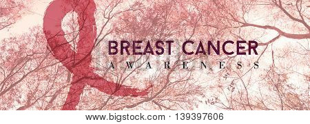 Breast Cancer Banner With Pink Forest Background