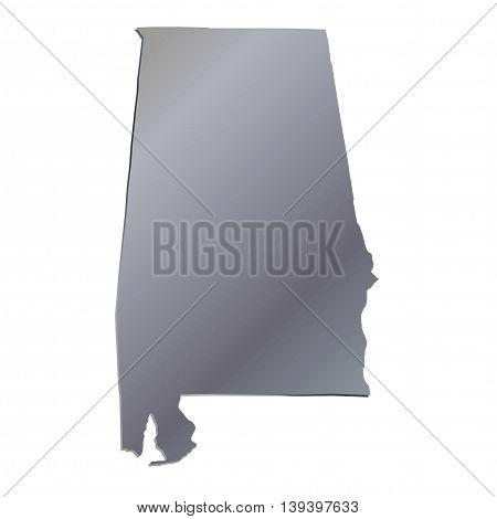 3D Alabama (USA) Aluminium outline map with shadow