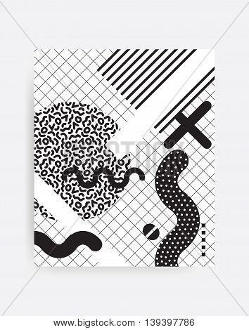 black and white Neo Memphis geometric pattern juxtaposed with bright bold blocks of color zig zags, squiggles, erratic images. Design background elements composition. Magazine, leaflet, billboard