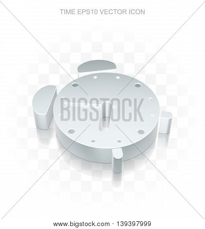 Timeline icon: Flat metallic 3d Alarm Clock, transparent shadow on light background, EPS 10 vector illustration.