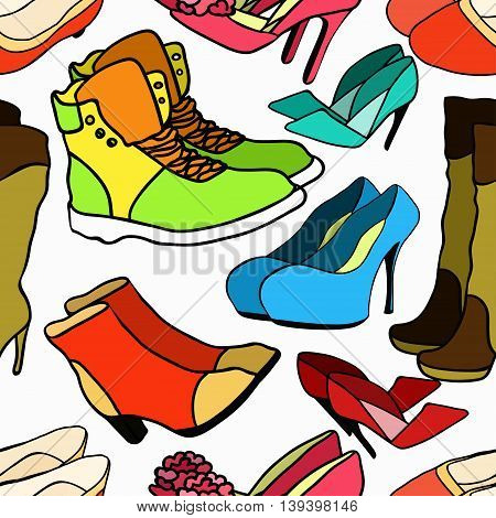 Seamless Pattern Of Women's Shoe Color. Vector Illustration