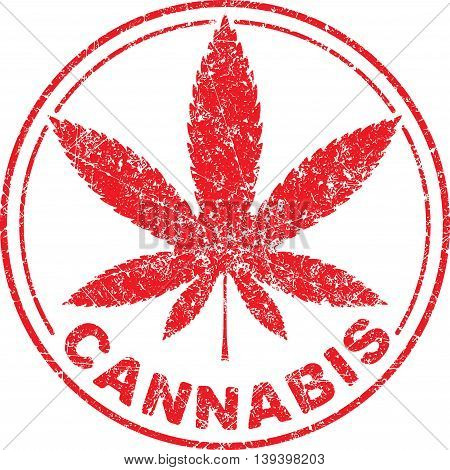 Cannabis or marijuana red leaf grunge design  inscribed in a circle, template for vector rubber stamp.