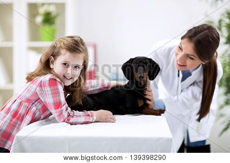 Vet Helping Little Kid With Dog