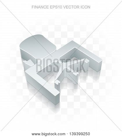 Finance icon: Flat metallic 3d Office, transparent shadow on light background, EPS 10 vector illustration.