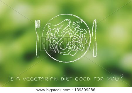Plate With Vegetarian Meal And Healthy Greens
