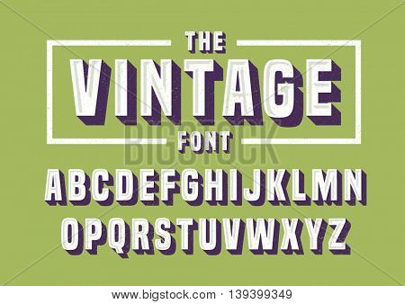 Vector of vintage font and alphabet