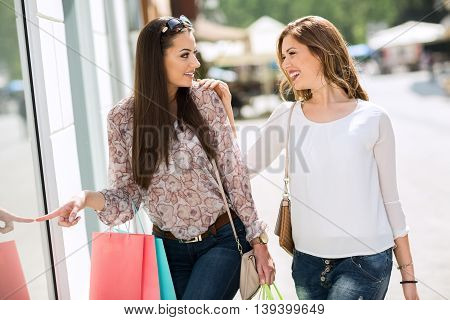 Friends Enjoy In Shopping