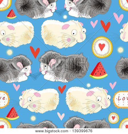 Funny graphic pattern lovers hamster on a blue background