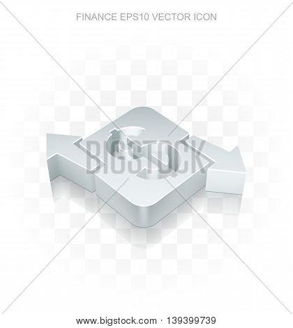 Finance icon: Flat metallic 3d Finance, transparent shadow on light background, EPS 10 vector illustration.
