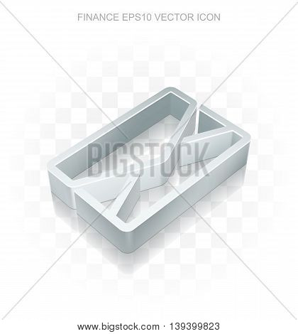 Finance icon: Flat metallic 3d Email, transparent shadow on light background, EPS 10 vector illustration.