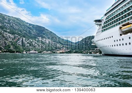 Cruise ship anchored in the Bay of Kotor in the old town of Kotor Montenegro