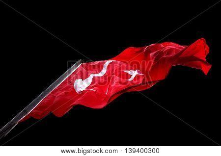 Waving Flag Of Turkey Isolated On Black Background