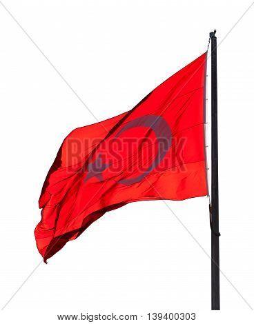 Flag Of Turkey Waving In Wind Evening