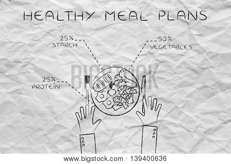 Plate With Healthy Meal And Recommended Portions, Egg Version