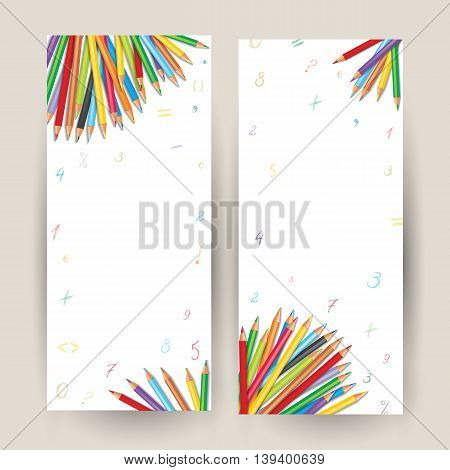Set of vertical banners with colorful pencils hand-drawn numbers and mathematical symbols. Illustration with a place for your text