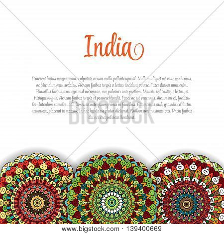 Creative Indian Independence Day concept with mandala decorative floral pattern in bright colors.
