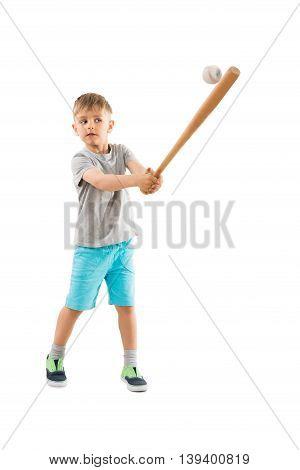 Portrait Of Boy Playing Baseball Over White Background