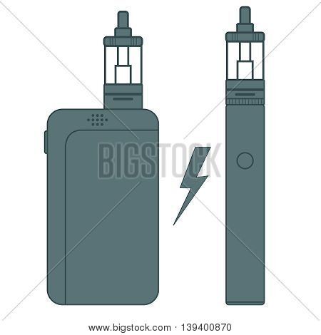 E-cigarette flat vector. Blue print on white background