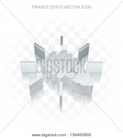 Finance icon: Flat metallic 3d Energy Saving Lamp, transparent shadow on light background, EPS 10 vector illustration.