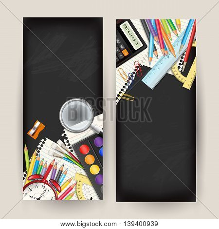 Set of two Back to school vertical banners. Templates with supplies tools on black classroom chalkboard. Place for your text. Layered realistic vector illustration.