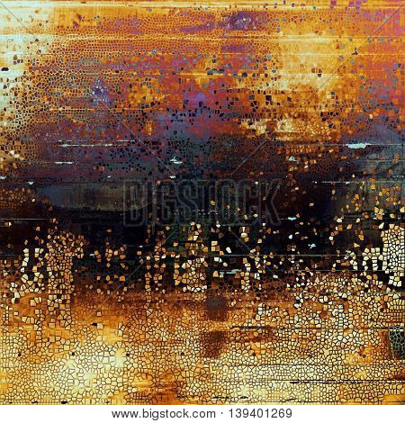 Old style distressed vintage background or texture. With different color patterns: yellow (beige); brown; black; red (orange); purple (violet); pink
