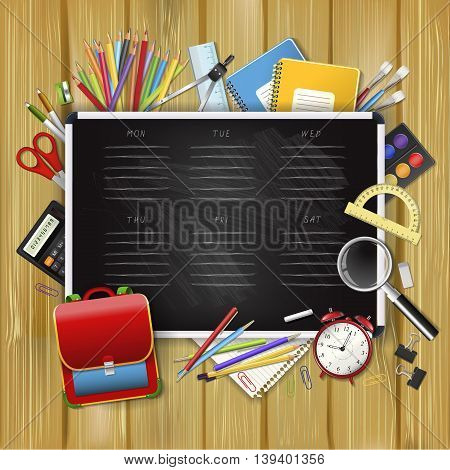 School timetable on black classroom chalkboard with supplies tools. School hand drawn schedule. Layered realistic vector illustration on wood background.