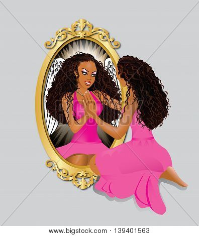 Vector Illustration of a woman seeing her reflection with confidence.