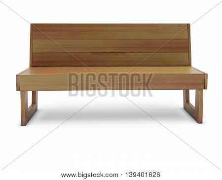 Wooden cedar bench on the white 3d