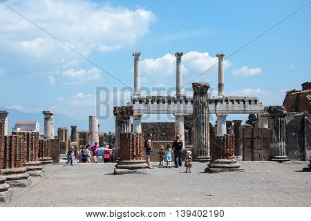 POMPEII, ITALY, MAY 10, 2012:  Ruins of ancient Roman City near Naples in Italy