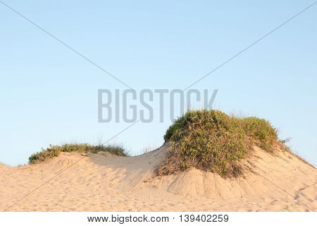 Dune rim under the sky with room for test