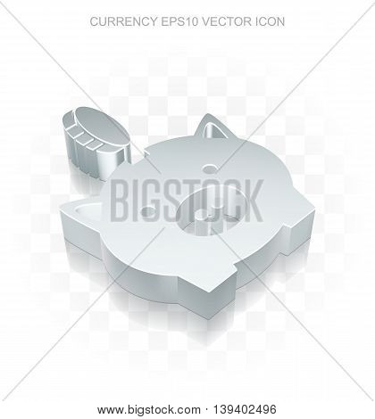 Banking icon: Flat metallic 3d Money Box With Coin, transparent shadow on light background, EPS 10 vector illustration.