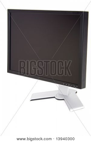 Wide screen silvery monitor on a white background.