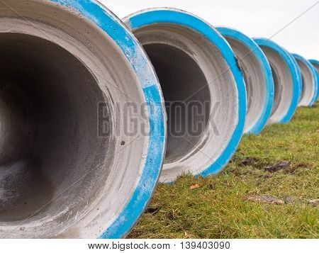 Row Of Concrete Sewage Pipes