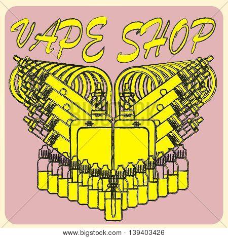 Vector emblem of vape. Isolated on pink background. Logo for vape shop. Illustration of electronic cigarette.
