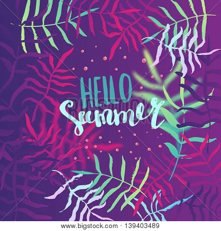 Summer hello poster, banner with tropical leaves. Vector summer illustration