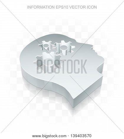 Data icon: Flat metallic 3d Head With Gears, transparent shadow on light background, EPS 10 vector illustration.
