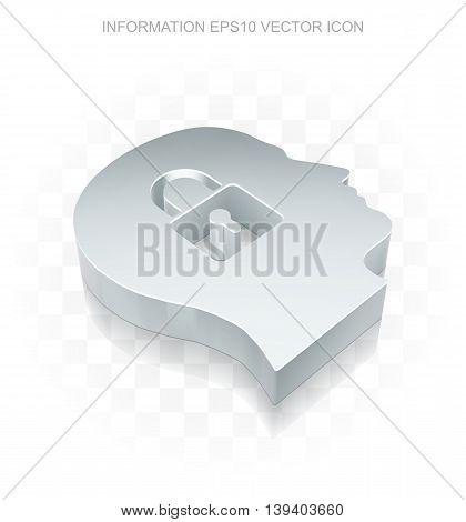 Data icon: Flat metallic 3d Head With Padlock, transparent shadow on light background, EPS 10 vector illustration.
