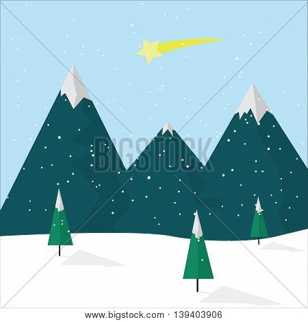 Christmas winter landscape with mountains and comet