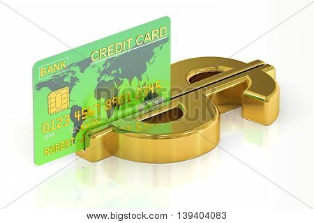 payment concept credit card with symbol of dollar. 3D rendering isolated on white background