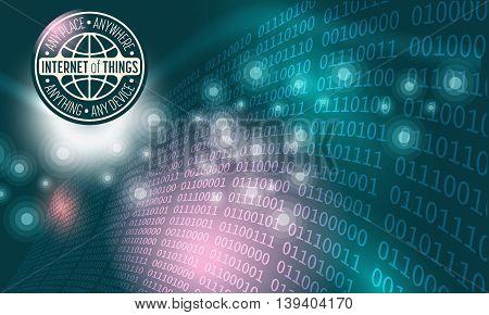Futuristic abstract background and binary code the words internet of things