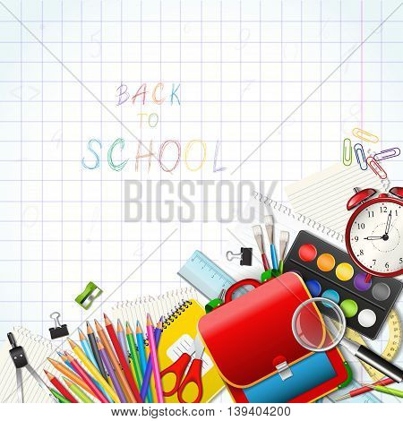 Back to school background with supplies tools. Red bag. Place for your text. Layered realistic vector illustration.