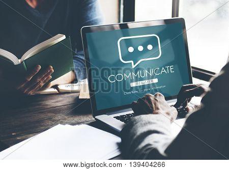 Communicate Online Conversation Message Concept